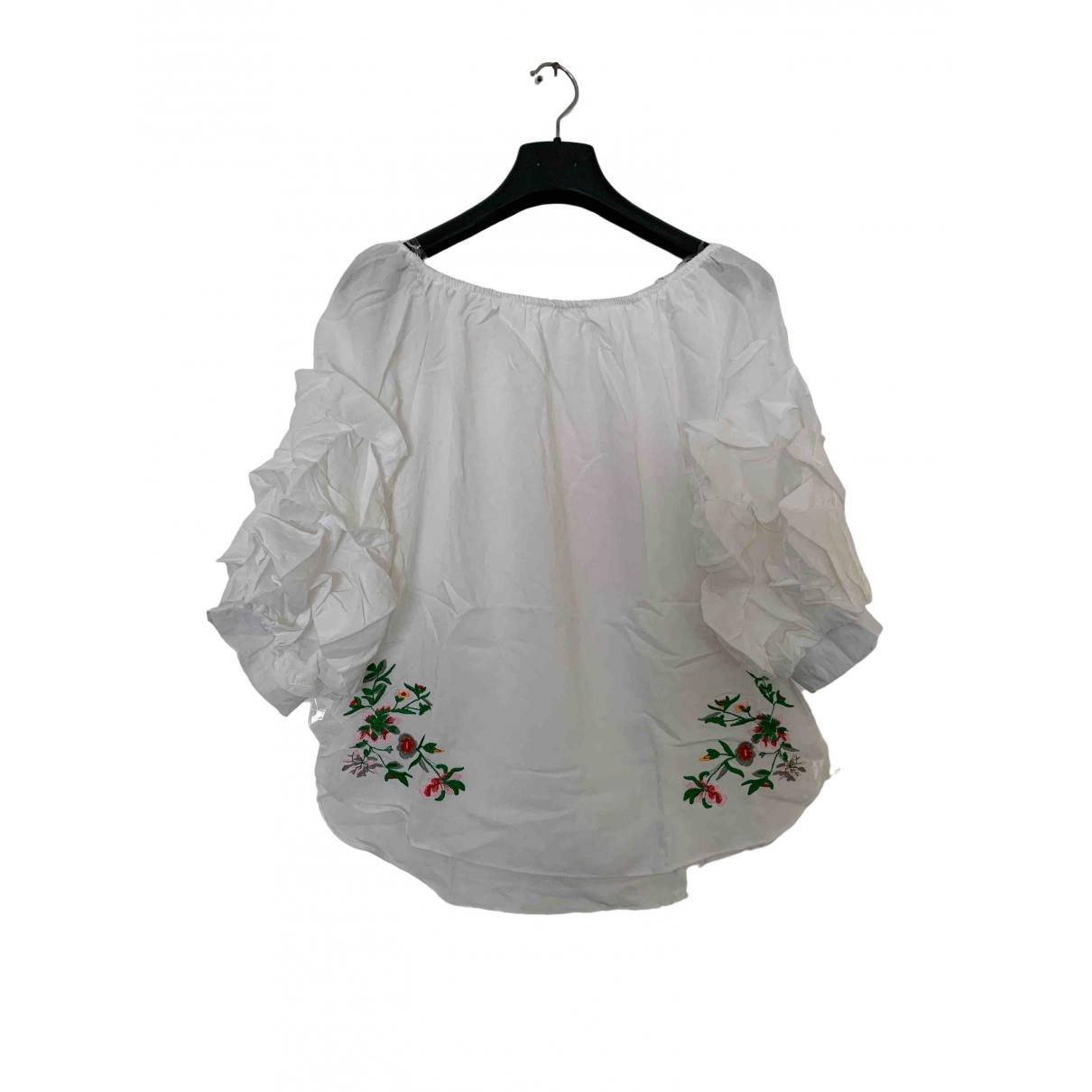 - Top Manche ballon pour femme en coton - blanc