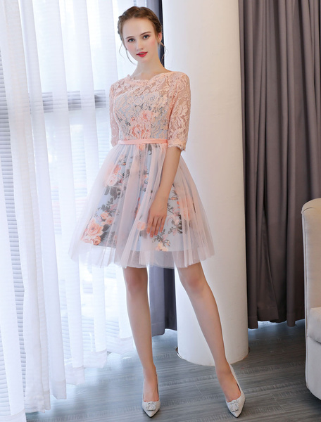 Milanoo Short Prom Dresses Soft Pink Floral Print Lace Half Sleeve Cute Graduation Dress