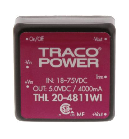 TRACOPOWER THL 20WI 20W Isolated DC-DC Converter Through Hole, Voltage in 18 → 75 V dc, Voltage out 5V dc