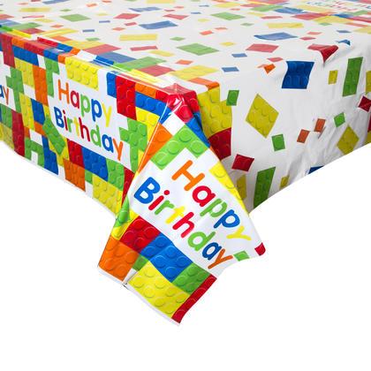 Building Blocks Birthday Rectangular Plastic Table Cover, 54