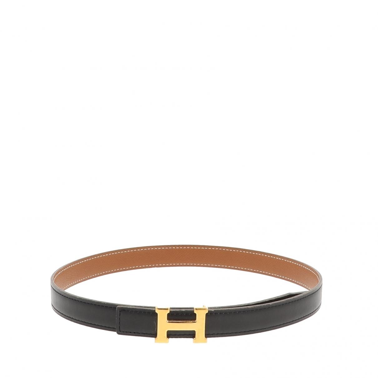Hermes - Ceinture   pour femme en cuir - noir