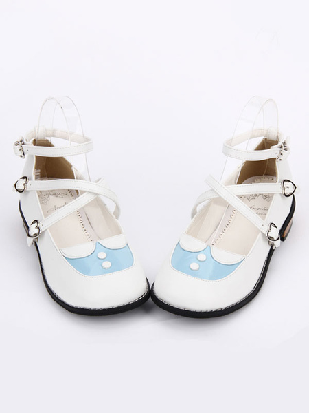 Milanoo Sweet Lolita Shoes White Round Toe Printed Criss Cross Ankle Strap Lolita Shoes
