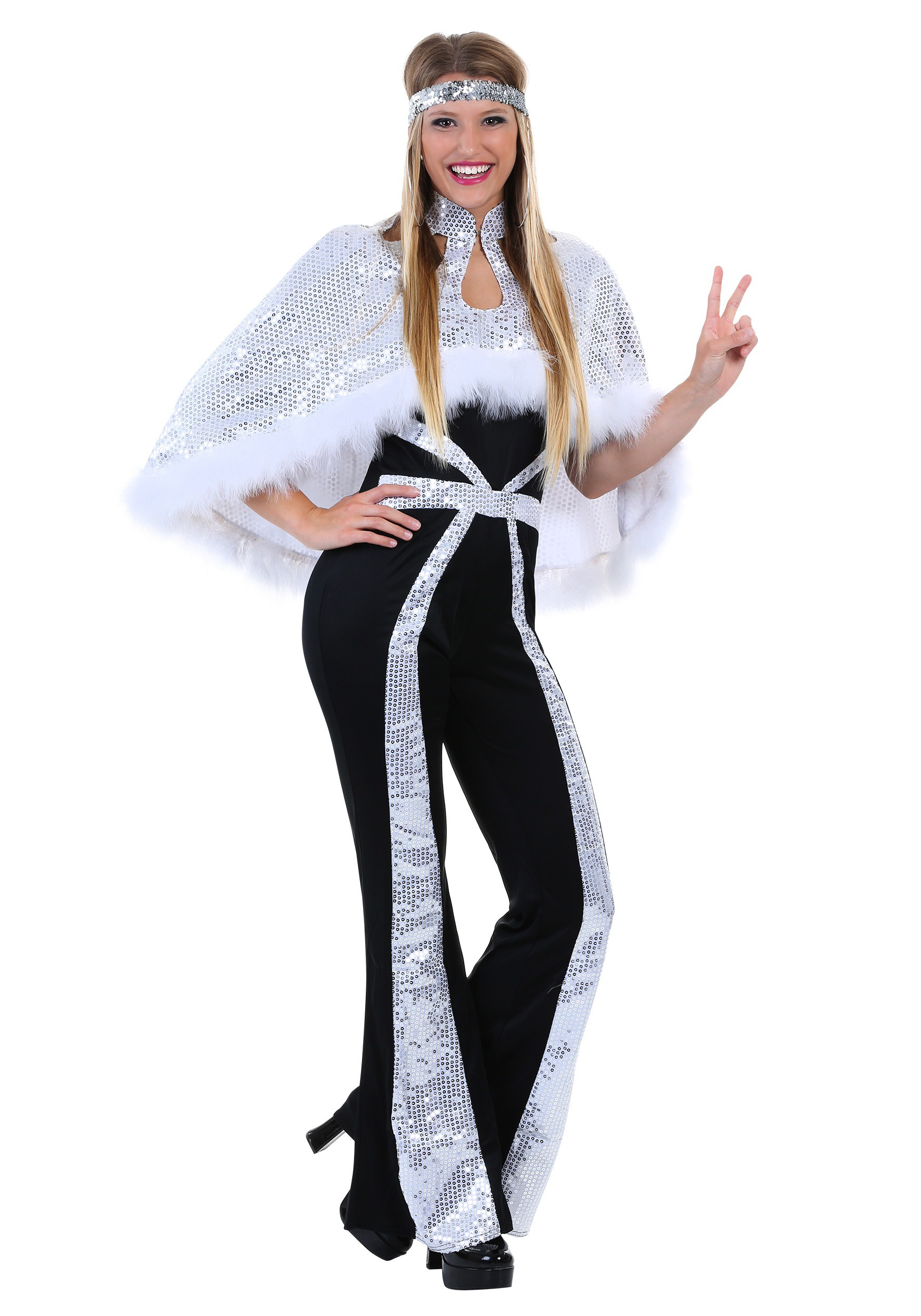 Dazzling Silver Disco Plus Size Costume for Women