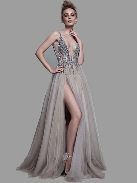 Milanoo Boho Wedding Dress 2020 A Line Deep V Neck Sleeveless Straps Split Front Floor Length Prom Dresses