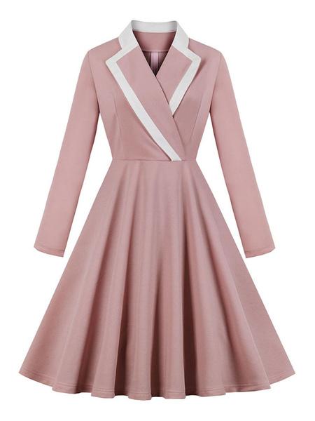 Milanoo Vestido vintage rosa Collar de cobertura de los años 50 Mangas largas Vestido largo hasta la rodilla de las mujeres