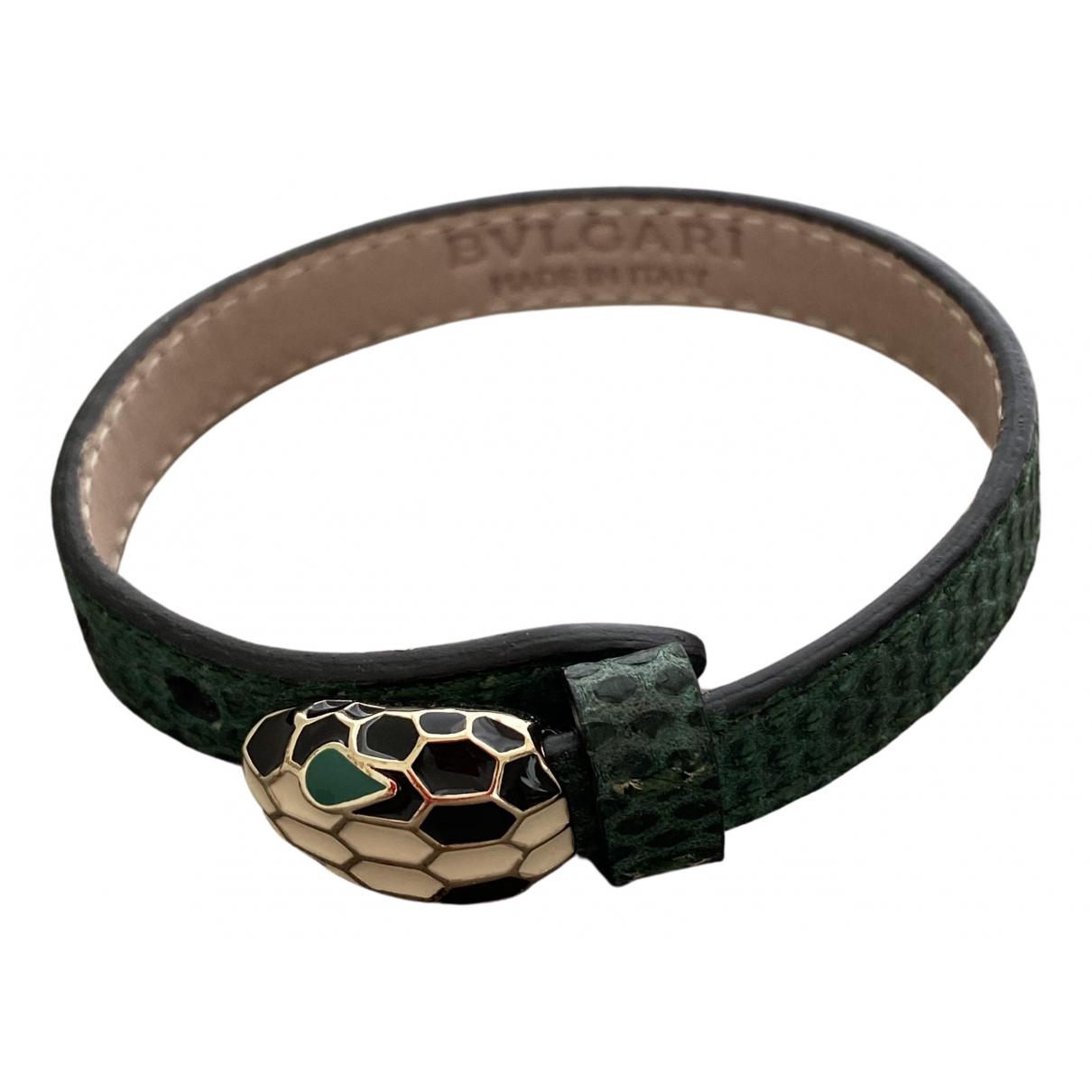Bvlgari Serpenti Armband in  Gruen Leder