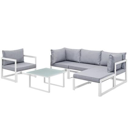Fortuna Collection EEI-1731-WHI-GRY-SET 6 PC Outdoor Patio Sectional Sofa Set with 2 Corner Chairs  1 Armless Chair  1 Armchair  1 Ottoman  Tempered