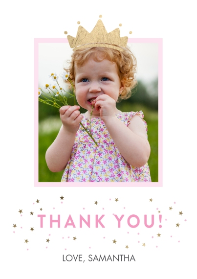 Kids Thank You Cards 5x7 Cards, Premium Cardstock 120lb with Elegant Corners, Card & Stationery -Thank You Set Princess Crown Gold