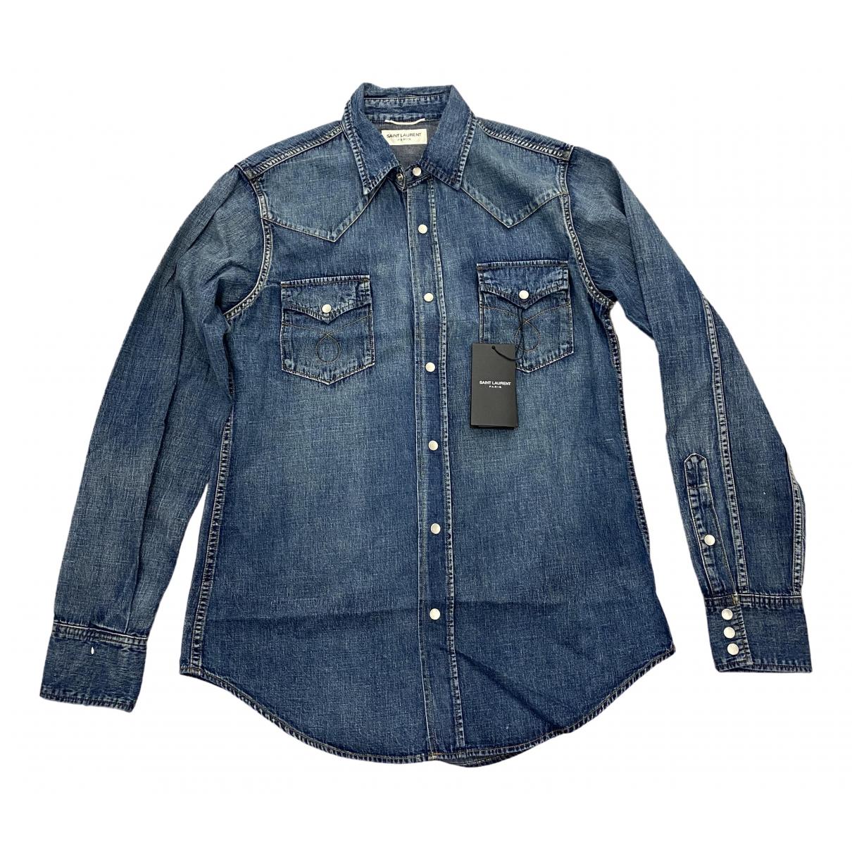 Saint Laurent \N Blue Cotton Shirts for Men S International