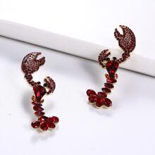 Rhinestone Decor Lobster Stud Earrings