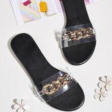 Sandalen mit Kette Dekor