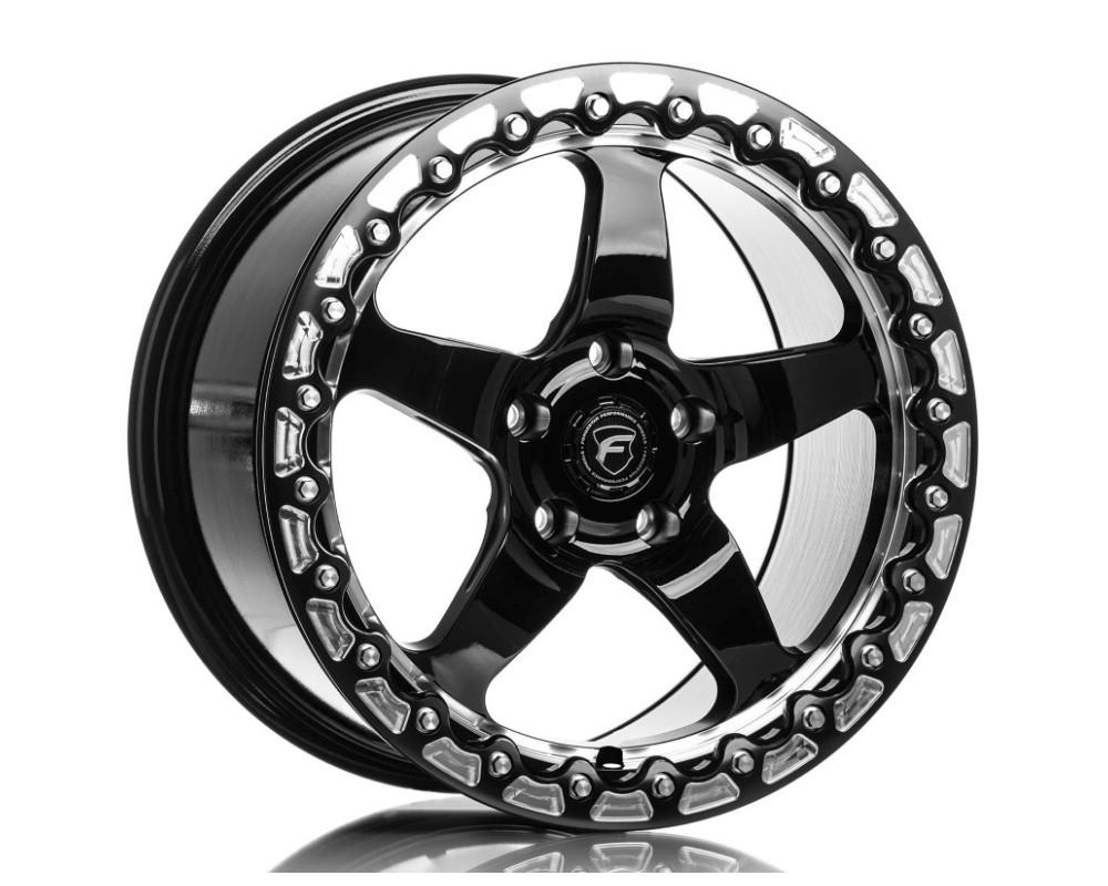 Forgestar F00170071P30 D5 Beadlock Wheel 17x10 5x115 30mm Gloss Black w/ Machined Lip