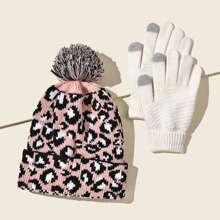 Muetze & Handschuhe mit Leopard Muster