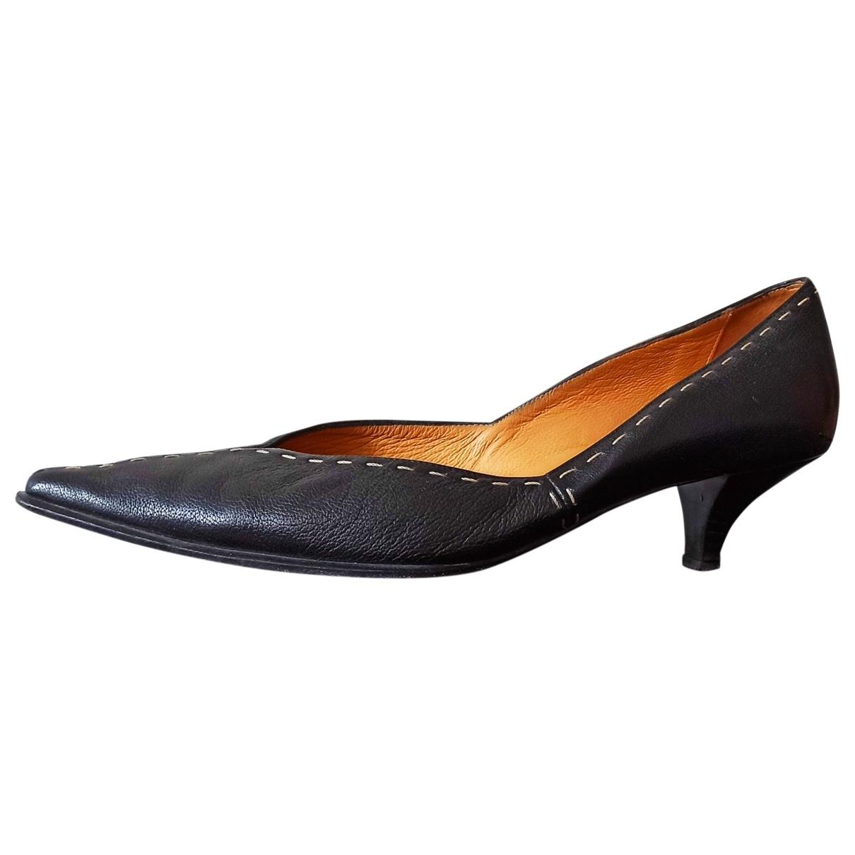 Hermès \N Black Leather Heels for Women 38.5 EU