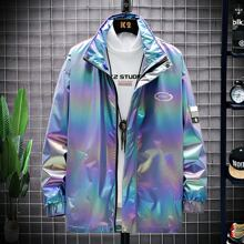 Guys Letter Holographic Zip Up Jacket