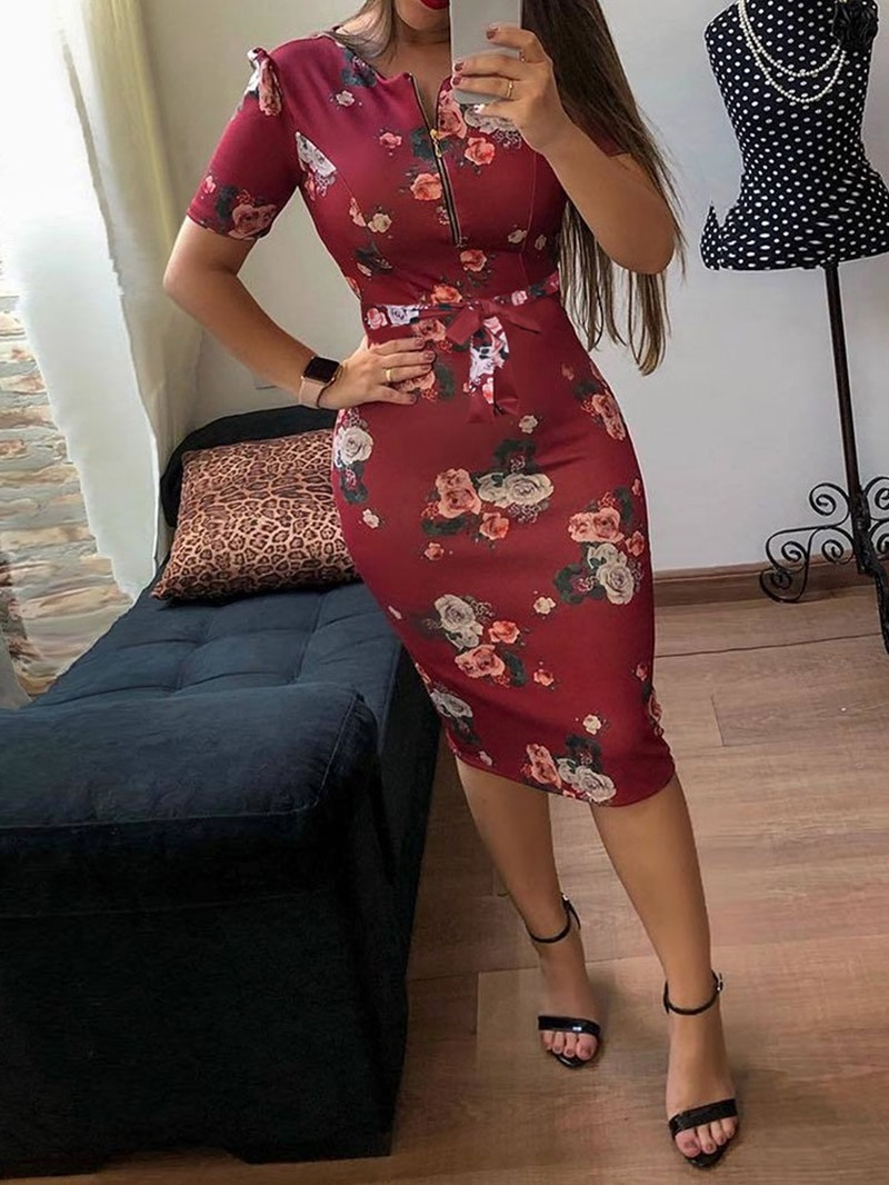 Ericdress Print Mid-Calf Short Sleeve Round Neck Bodycon Fashion Dress
