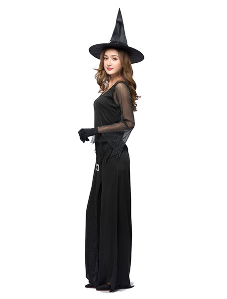 Milanoo Witch Costume Halloween Women Sexy Split Black Maxi Long Sleeve Dresses Outfit