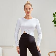 Solid Ring Ruched Sports Tee