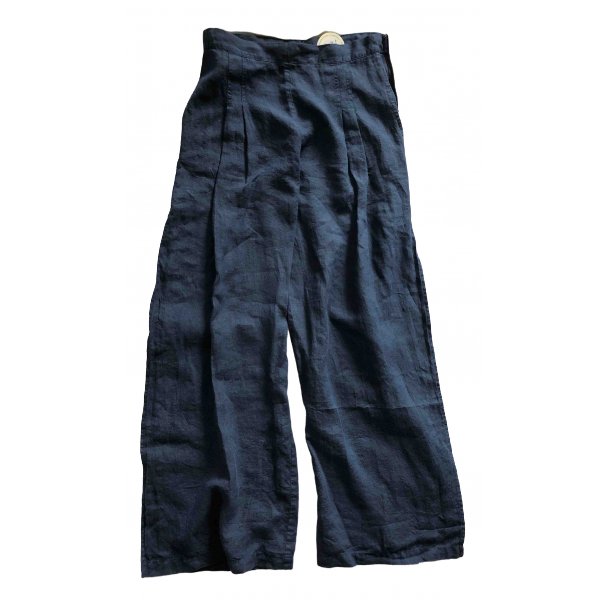Non Signé / Unsigned \N Blue Linen Trousers for Women 44 IT
