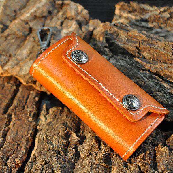 Leather Zipper Car Key Storage Bag Retro Business Waist Padlock Card Money Holder