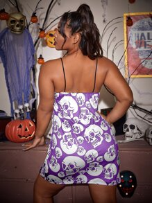 Plus Halloween Print Slit Hem Cami Nightdress