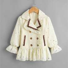 Mantel mit Ruesche und Kontrast Pailletten