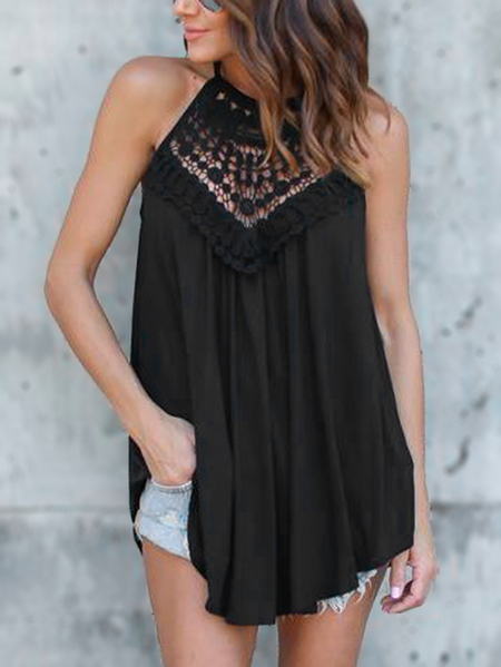 Yoins Black Crochet Lace Insert Halter Camis