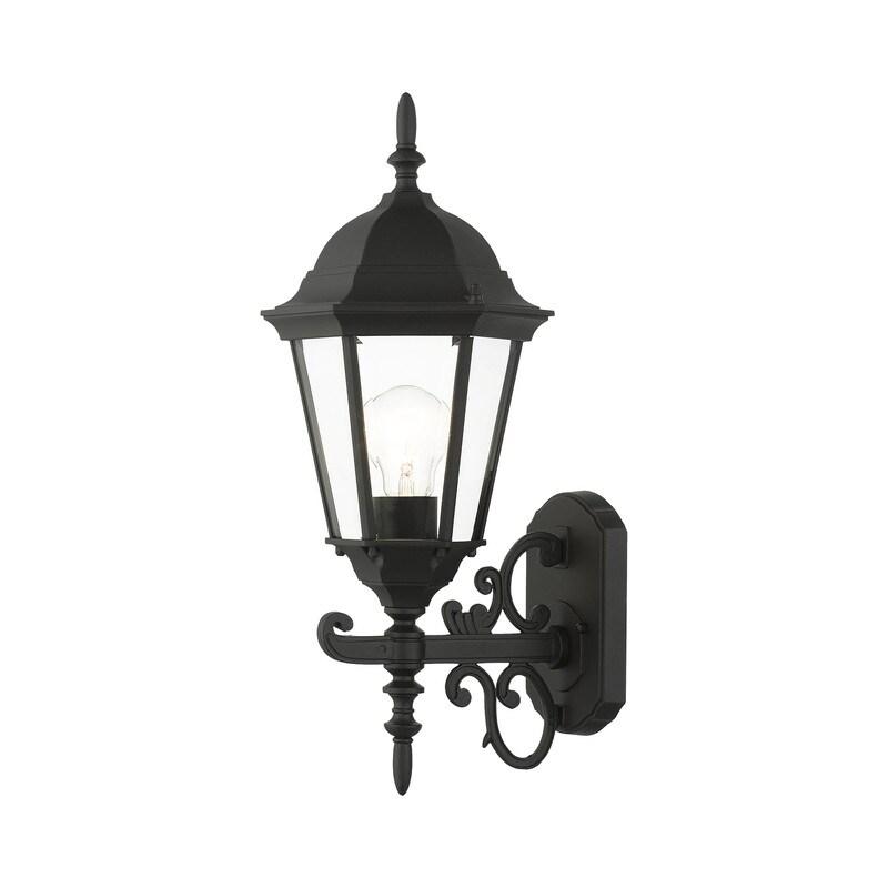 1 Lt Textured Black Outdoor  Wall Lantern (Black)