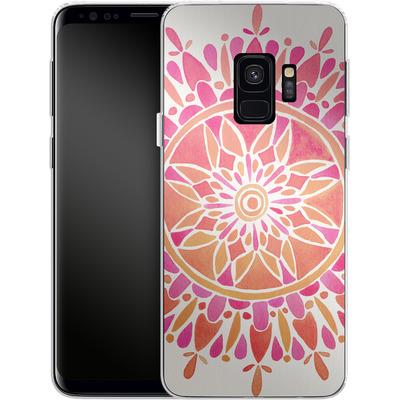 Samsung Galaxy S9 Silikon Handyhuelle - Mandala Pink Ombre von Cat Coquillette
