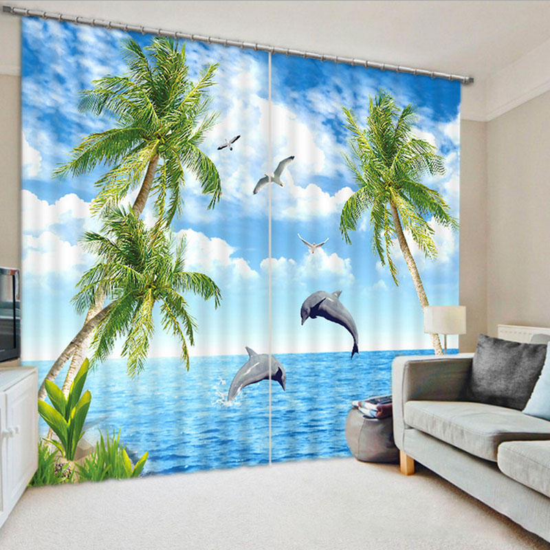 3D Creative Blue Navy Curtains  Seaside with Coconut Trees Pattern 260g ㎡ Thick Shading Polyester Good Shading Effect and Anti-ultraviolet Radiation f