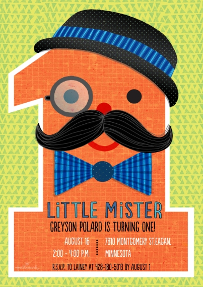 1st Birthday Invitations 5x7 Cards, Premium Cardstock 120lb, Card & Stationery -Age 1 Little Mister