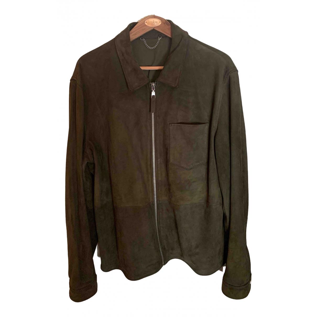 Zara - Vestes.Blousons   pour homme en cuir - kaki