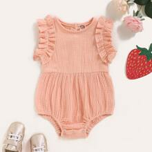 Baby Girl Frill Trim Button Back Romper