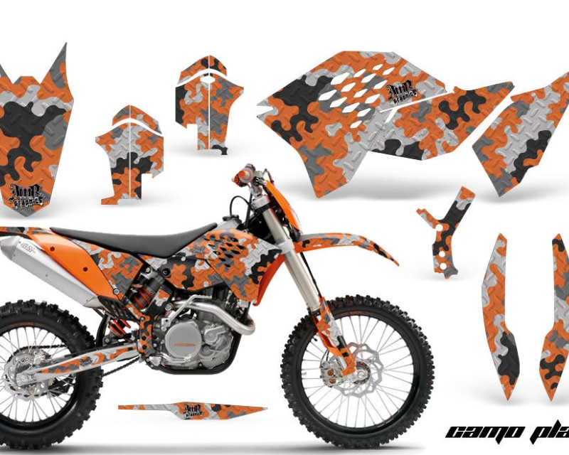 AMR Racing Dirt Bike Graphics Kit Decal Wrap For KTM SX/XCR-W/EXC/XC/XC-W/XCF-W 2007-2011áCAMOPLATE ORANGE