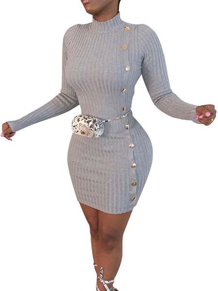 Milanoo Women\'s Bodycon Dresses Black Long Sleeves Buttons Casual Jewel Neck Slim Fit Dress Sheath Dress