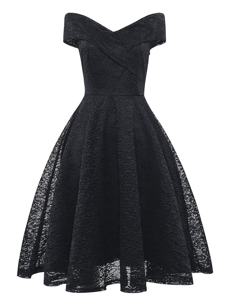 Milanoo Lace Dresses Dark Navy V-Neck Sleeveless Open Shoulder Lace Hollow Out Retro Wrap Dresses