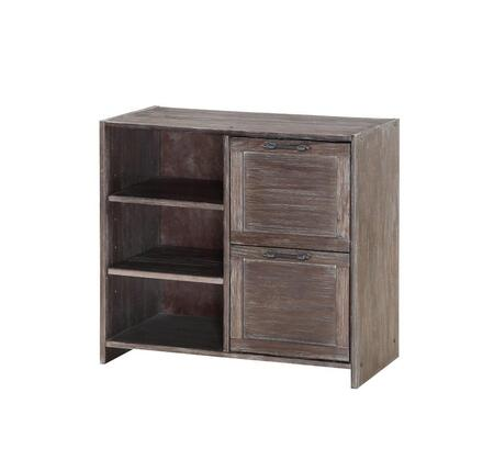 0318C-BS Low Loft 2 Drawer Chest W/Shelves in Brushed