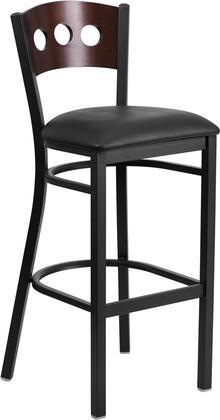 XU-DG-60516-WAL-BAR-BLKV-GG HERCULES Series Black Decorative 3 Circle Back Metal Restaurant Bar stool - Walnut Wood Back Black Vinyl