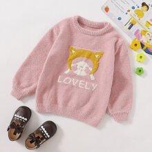 Pullover mit Karikatur & Buchstaben Grafik