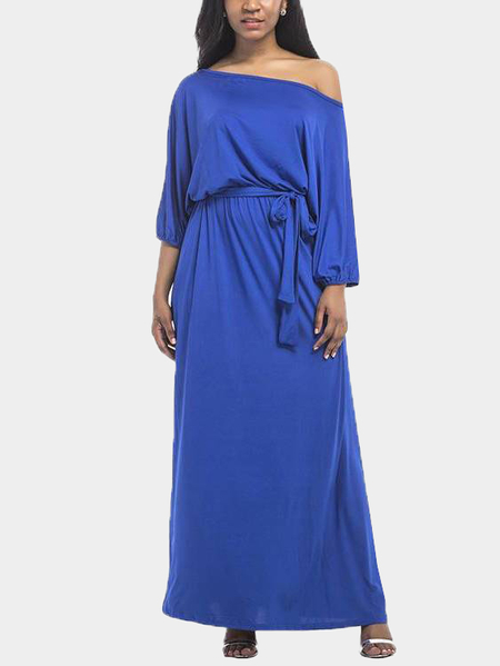 Yoins Blue Off Shoulder Round Neck Maxi Dress with Sash-tie