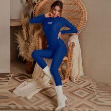 Glamaker conjunto top con estampado de letra con leggings