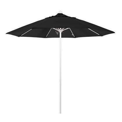 ALTO908170-SA08 9' Venture Series Commercial Patio Umbrella With Matted White Aluminum Pole Fiberglass Ribs Push Lift With Pacifica Black