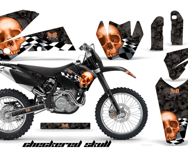 AMR Racing Graphics MX-NP-KTM-C4-05-07-CS K O Kit Decal Wrap For KTM EXC/SX/MXC?/SMR/XCF-W 2005-2007áCHECKERED BLACK ORANGE