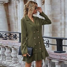 Solid Double Breasted Blazer Dress