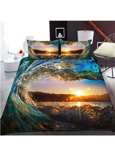 Heart-shaped Waves In The Sunset 3D Printed Polyester 1-Piece Warm Quilt