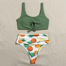 Bikini Badeanzug mit Ananas Muster, Ausschnitt, Knoten und Rueschen