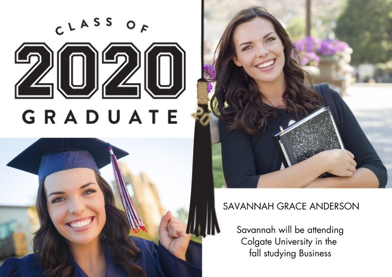 2020 Graduation Announcements 5x7 Cards, Premium Cardstock 120lb with Rounded Corners, Card & Stationery -2020 Graduate Tassel by Tumbalina