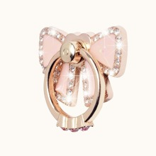 Rhinestone Decor Bow Phone Ring Holder