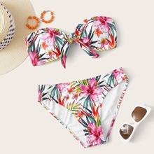 Bandeau Bikini Badekleidung mit Blumen Muster und Knoten vorn