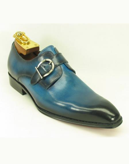 Mens Slip On Side Single Buckle Style Ocean Blue Fashionable Shoes